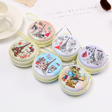 Cute Round Paris Eiffel Zipper Coin Case for headphones Earphone Earbuds Memory Card Mini Zero Wallet Keys Coin Purses Box new(China)