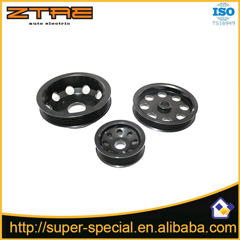Цена за Высокое качество ЛЕГКОЕ алюминия ШКИВ КОЛЕНВАЛА Для Nissan SILVIA S14 S15 SR20 ШКИВ (ЧЕРНЫЙ и ЩЕПКА)
