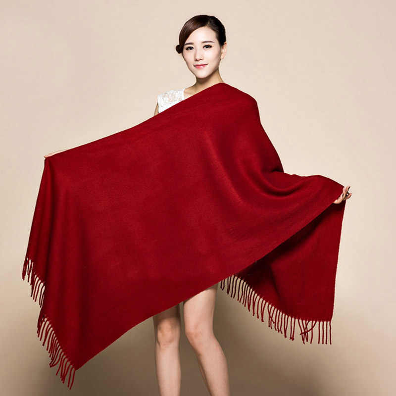 Lengthen Shawl 200x70cm Solid Burgundy Soft&Warm Women's New Winter Fashion Cashmere Pashima Thick Shawl   Scarfs     Wrap   120511