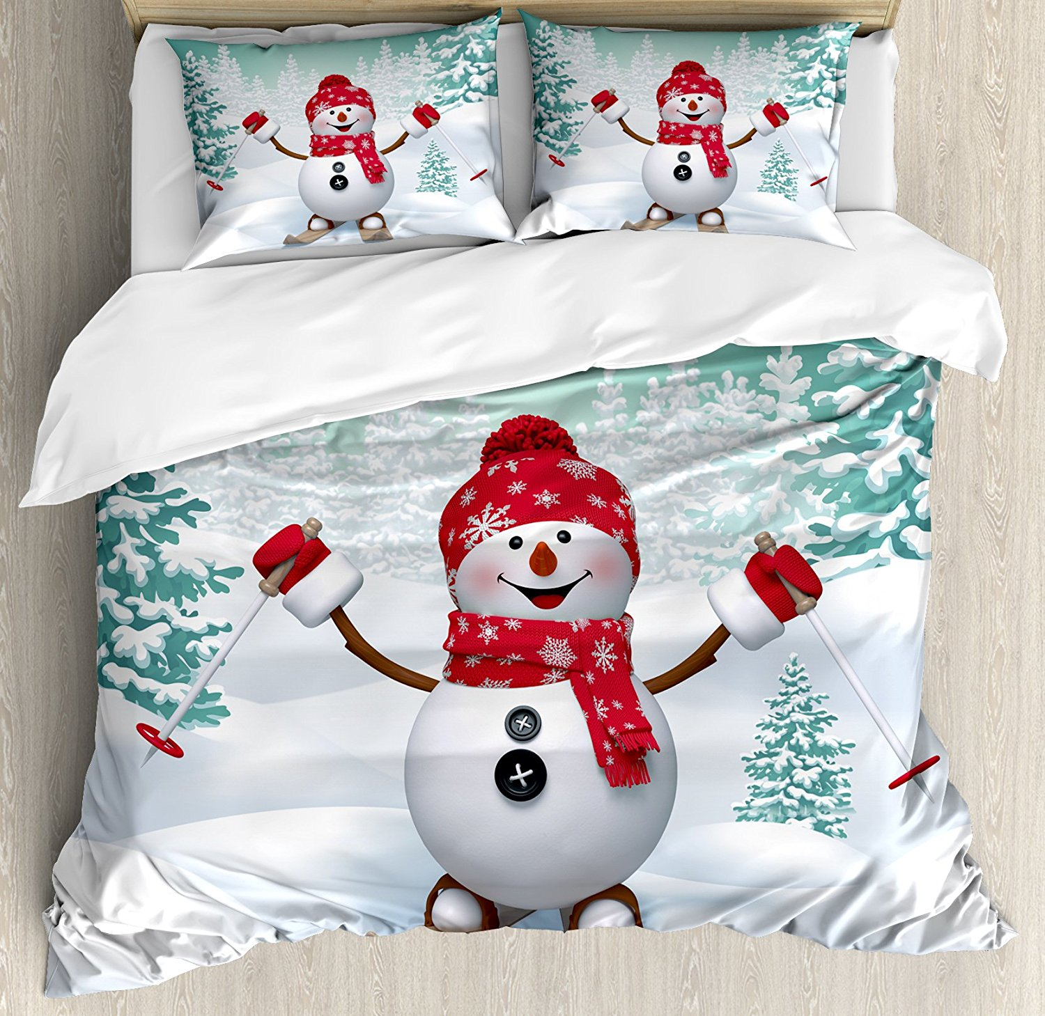 Christmas Duvet Cover Set Size Snow Covered Mountain with Fir Trees and Skiing Snowman Fun Holiday Activity