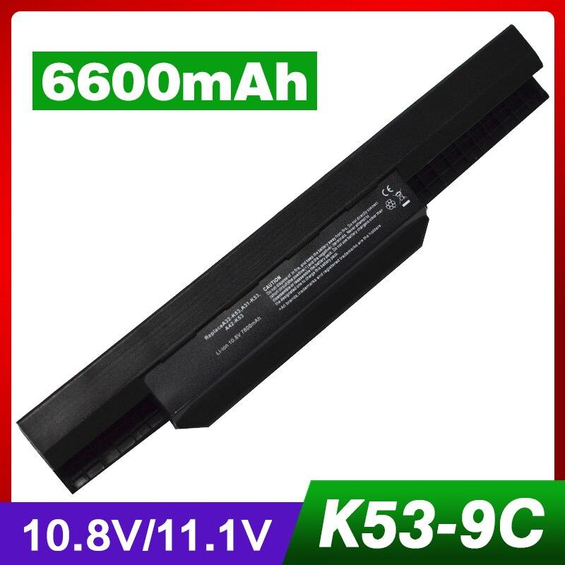 Batterie d'ordinateur portable pour Asus A43 A53 A53JA A53JB A32-K53 A41-K53 A42-K53 K43BY K43E K53 K53SD P43 P53 X43 K53TA X53 x43JR X84 P43JC