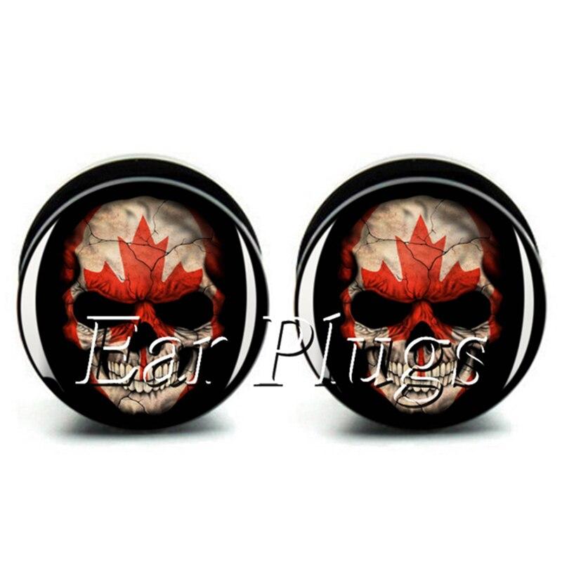Wholesale 60pcs Canada skull plug gauge acrylic screw ear plug flesh tunnel body piercing jewelry mix size 6mm-25mm A0476