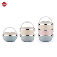 3 Layer Combination Round Kids School Insulation Lunch Boxes Stainless Steel Japanese Food Fruit Storage Food