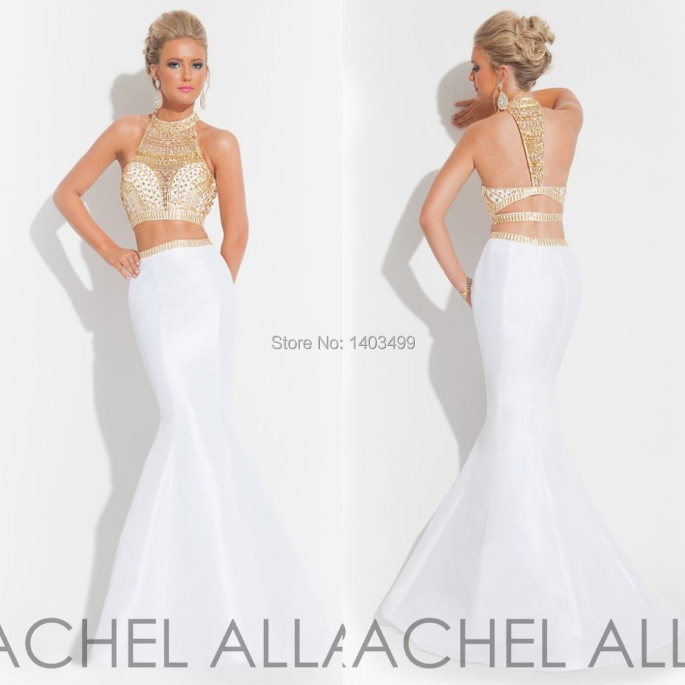 2015 Hot White and Gold Crystal Sparkly Two Piece Prom Dresses Long ...