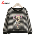 Kids T Shirt Girls 2017 Spring New Casual Cartoon Striped T Shirt Girl Kids Long Sleeve O-neck Simple Baby Girl  Clothes 4762W
