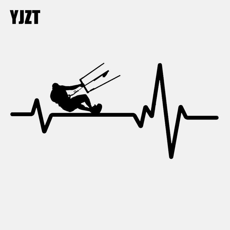 YJZT 15.8CM*7.3CM Kiteboarding Kite Board  Heartbeat  Lifeline  Vinyl Black/Silver  Car Sticker C22-1151