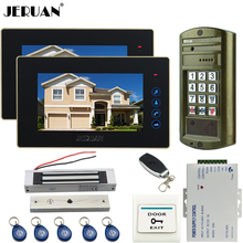 "JERUAN 7"" Video Door Phone Intercom System kit 2 MonitoR +Metal Waterproof Access Password HD Mini Camera + 180KG Magentic lock"