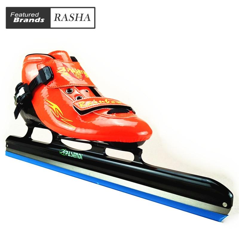 Prix pour PASENDI Chaussures de Patinage De Vitesse longue piste glace skateice chaussures de patinage noir enfants glace lame patines bleu orange Rouleaux De Patinage