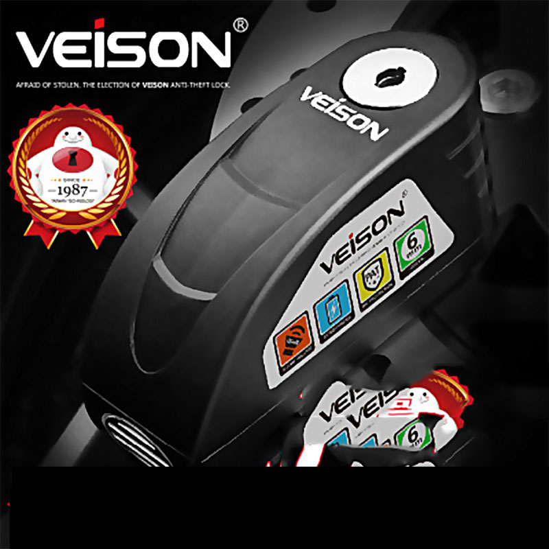 VEISON Motorcycle Waterproof Alarm Lock Alloy Material Bicycle Disc Lock Warning Security Anti-Theft Brake Rotor Padlock DX19