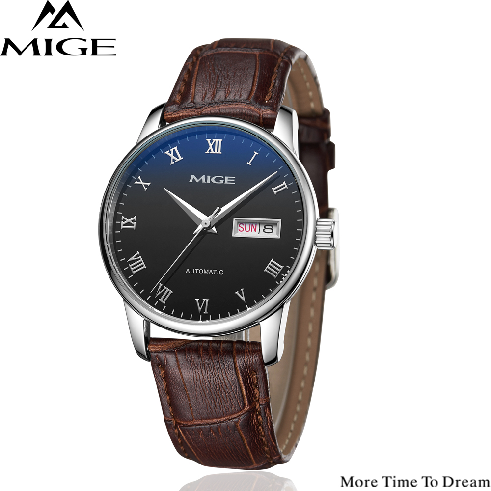 Mige 2018 Top Brand Luxury Hot Sale Automatic Mens Watch Skeleton Steel Brown Leather White Waterproof Man Mechanical Watches 2018 ailang sapphire automatic mechanical watch mens top brand luxury waterproof brown genuine leather watch relogio masculine