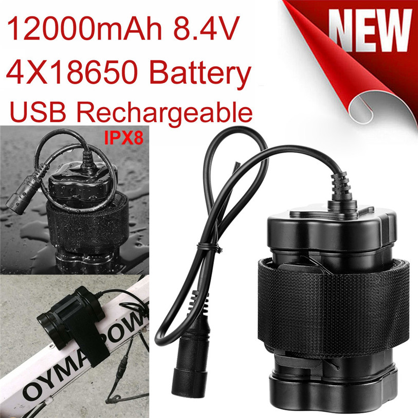 8.4V USB Rechargeable 12000mAh 4X18650 Battery Pack For Bicycle light Bike Torch Outdoor Bicycle Accessories High Quality Oct 27 rechargeable 3000mah 8 4v 4 x 18650 2s2p battery pack for bicycle light black