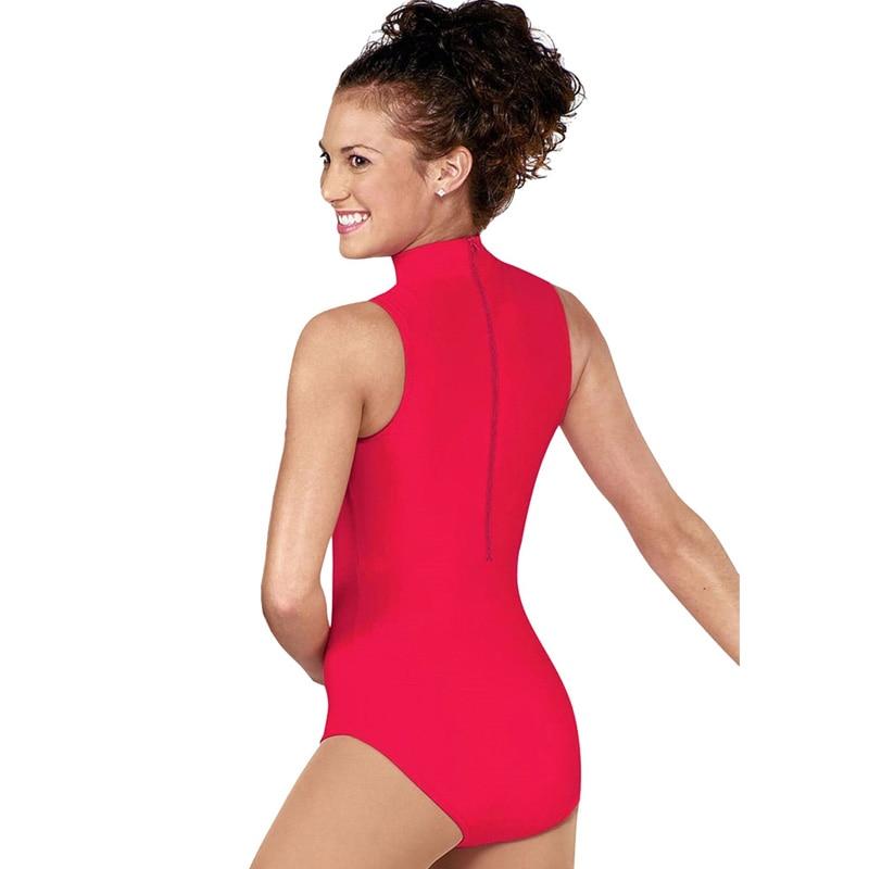 Women Athletic Leotard Body Ballet Dance Trainin Suit Sleeveless Overalls High-necked Spandex Nylon For Dancing Clothes Bodysuit