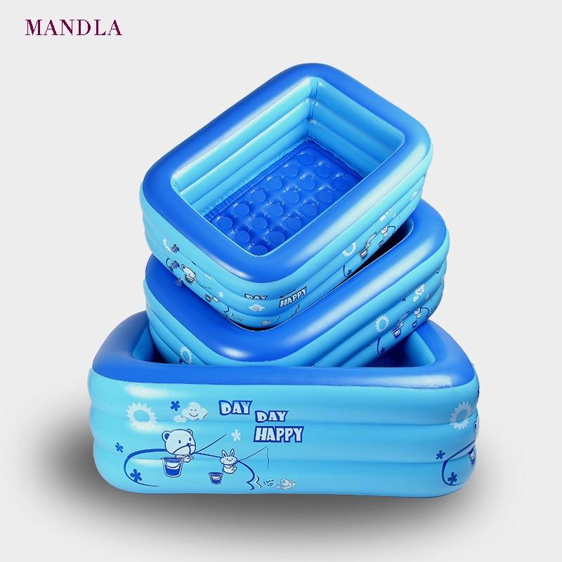 150 cm trois couches PVC gonflable carré piscine enfants jouer piscine maison portable piscine