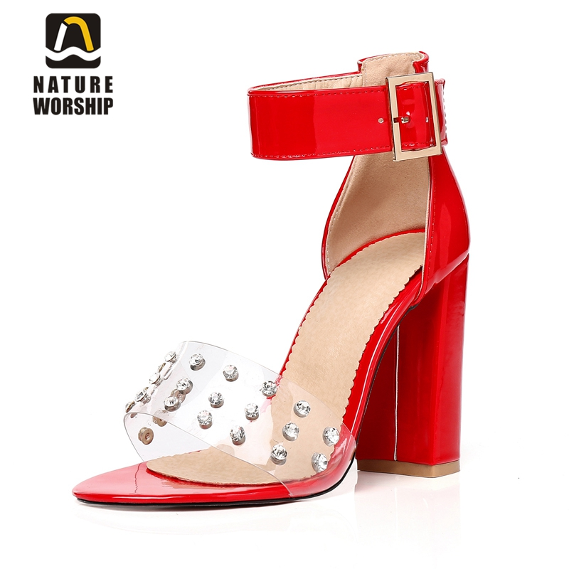все цены на Square heel high heels sandals women shoes pointed toe patent leather shoes crystals buckle high heel shoes ankle strap pumps