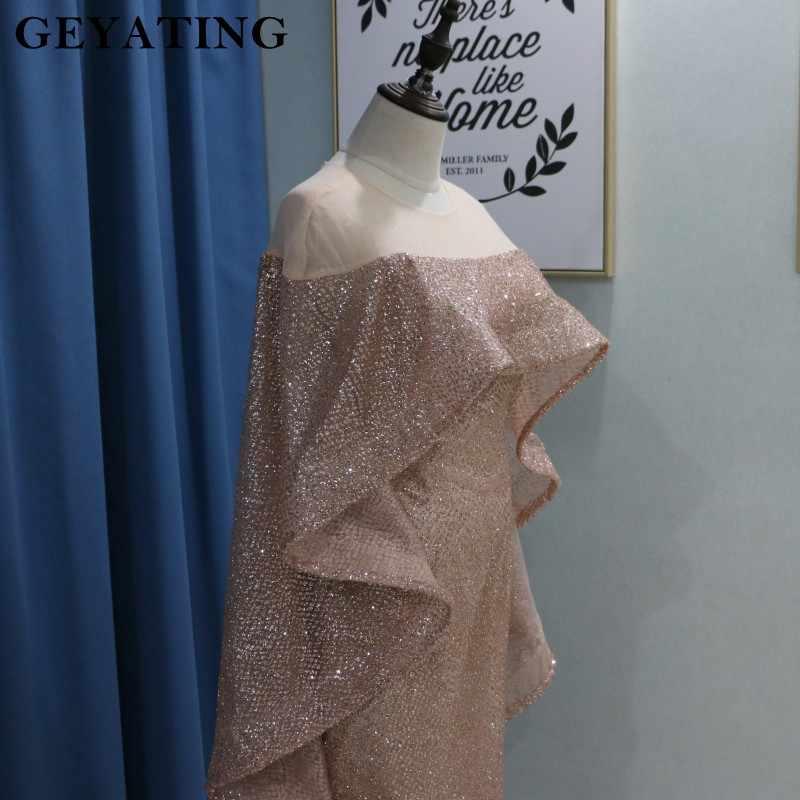 ca22ed3e3f503 ... Rose Gold Mermaid Saudi Arabia Muslim Evening Dress with Cape Yousef  Aljasmi Glitter Sequin Dubai Prom ...