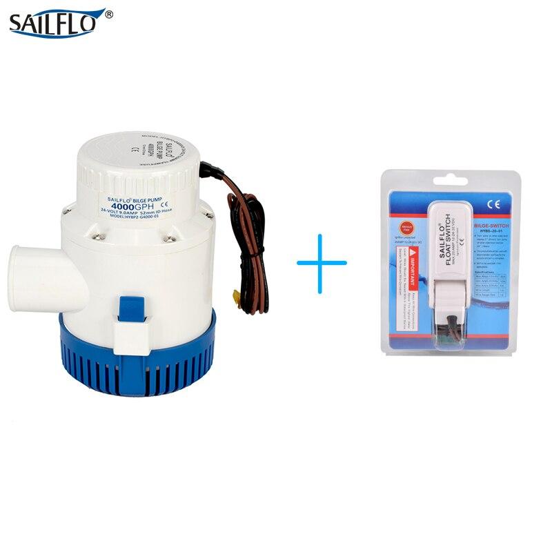 Pompe de cale de bateau submersible 12 V/24 V 4000GPH avec interrupteur à flotteur