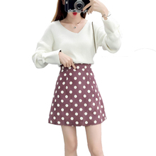 Autumn suits v-neck pullovers sweater & polka dot print skirt 2 pcs clothing set women outfit top design quality girl clothes v neck overlay dot print design playsuit in white