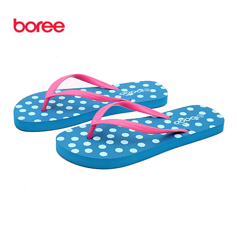 Boree Summer Women's Sandals Fashion Flip Flops Casual Shoes Soft Upper  Classic Polka Dot Non-Slip Flat Beach Slippers SDL0021 summer leisure slippers slip on round toe comfortable sandals women flat sandals casual flip flops female shoes