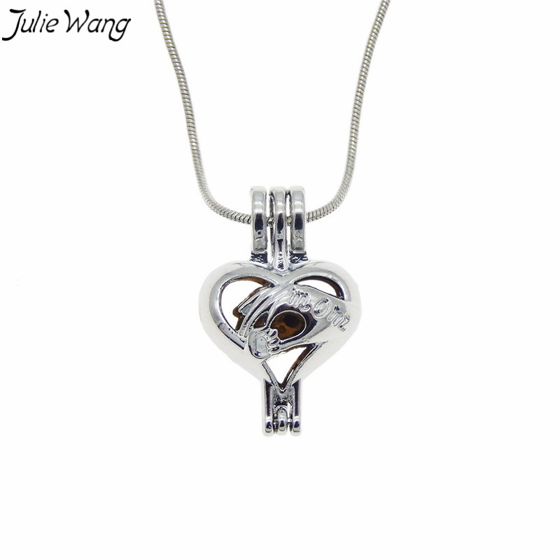 Julie Wang 1PC Mom Holding Baby Hand Heart Shape Cage Locket Pendant Necklace 50cm Snake Metal Chain Prayer Scented Wish Jewelry