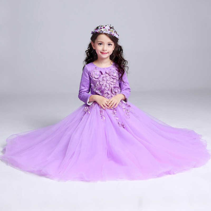 88ddf558a5c ... Darlingoddess Purple Long Flower Girl Dress for Wedding Birthday Girl  Kids Evening Prom Dresses Floor Length ...