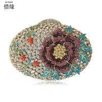 Xiyuan бренд Для женщин Вечерние сумки дамы кристалл свадьбы невеста мешок золото серебро синий узор участник кошельки для матери Подарки