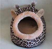 Dogs Cats Cool Fashion Leopard House Doggy Warm Soft Kennels Supplies Puppy Autumn Winter Beds Accessories