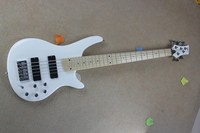 Free shipping !! High Quality Maple Fretboard soundgear 5 Strings white electric bass with Active Pickups 8 1