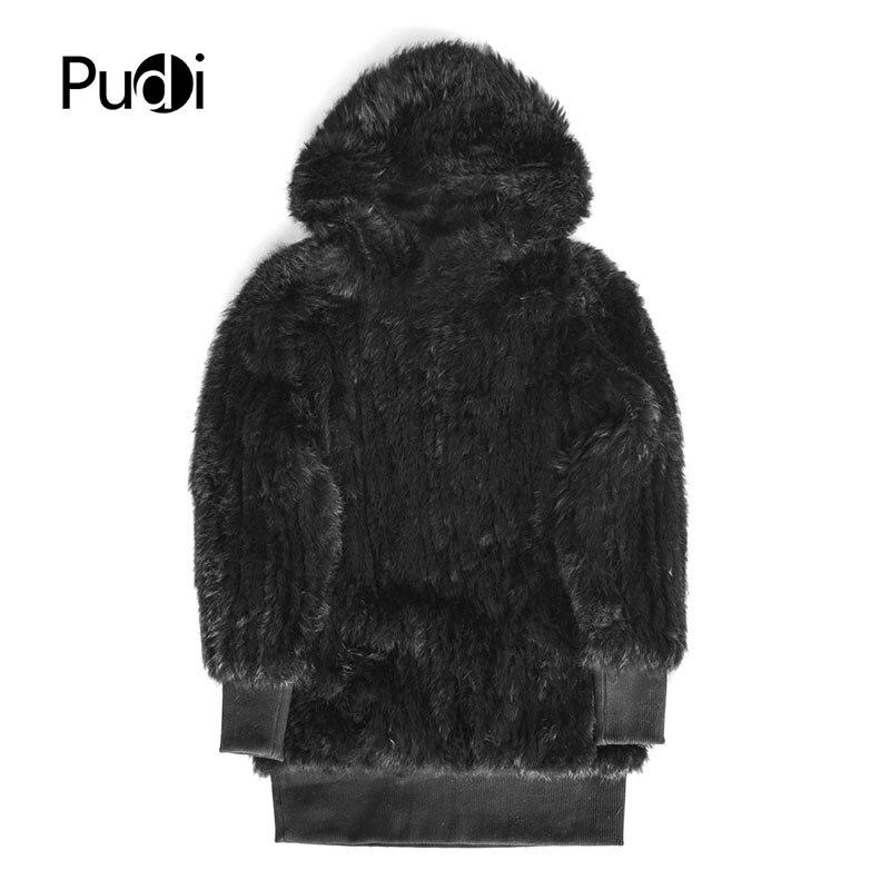 Pudi CT847 womens rabbit fur coat with fur wood brand new autumn winter coat