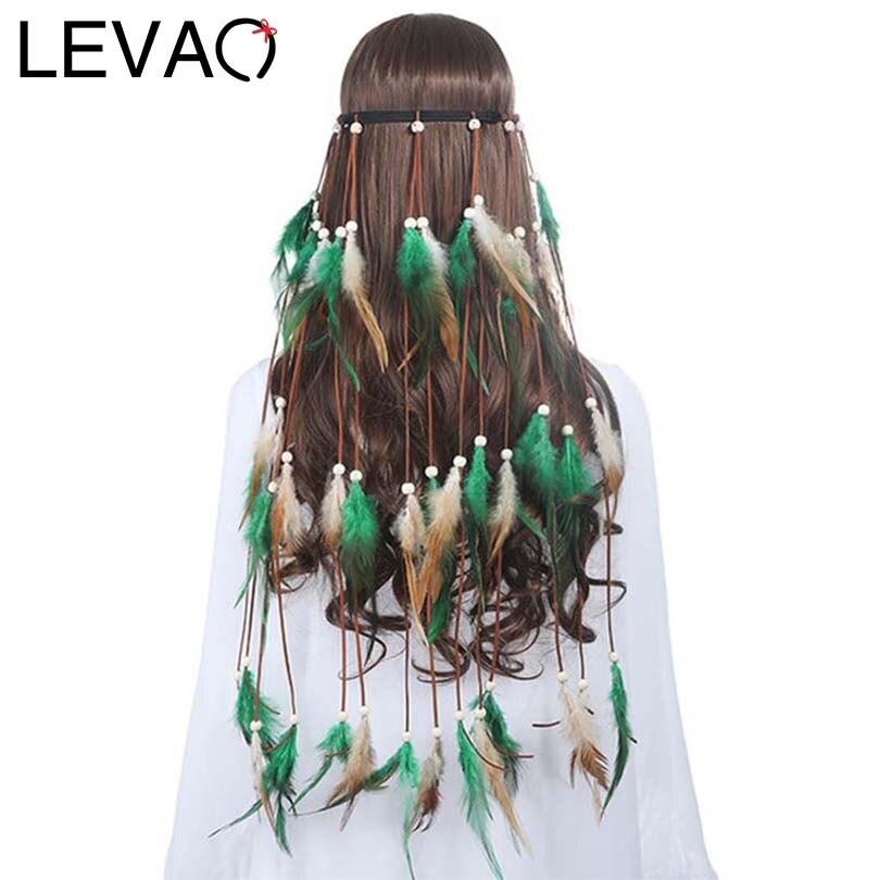 LEVAO 2019 Girls Black Feather Hairbands For Women Festival Bohemian Style Headbands Hair Accessories Hair Rope Headwear Hippie