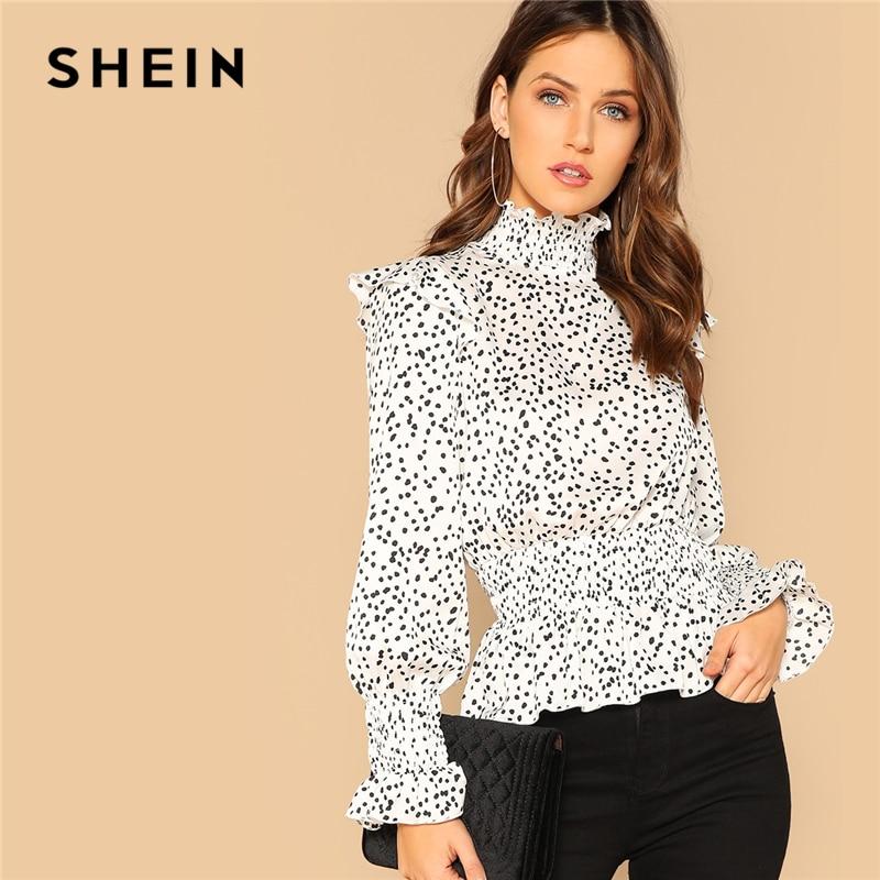 e2b3a30fa5 SHEIN Vintage Black and White Keyhole Back Frilled Collar Dot Peplum Top  Long Sleeve Blouse Women