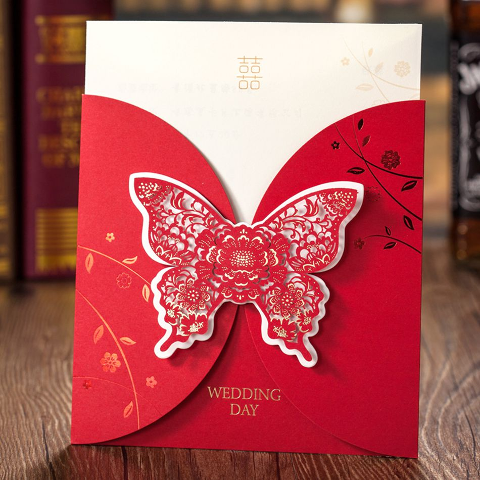 Luxurious Laser Cut Embossed Butterfly Wedding Invitation Greeting ...