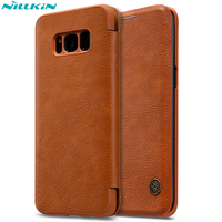 For Samsung Galaxy S8 S8 Plus Vintage Leather Case Nillkin Qin Luxury Flip Cover Case For