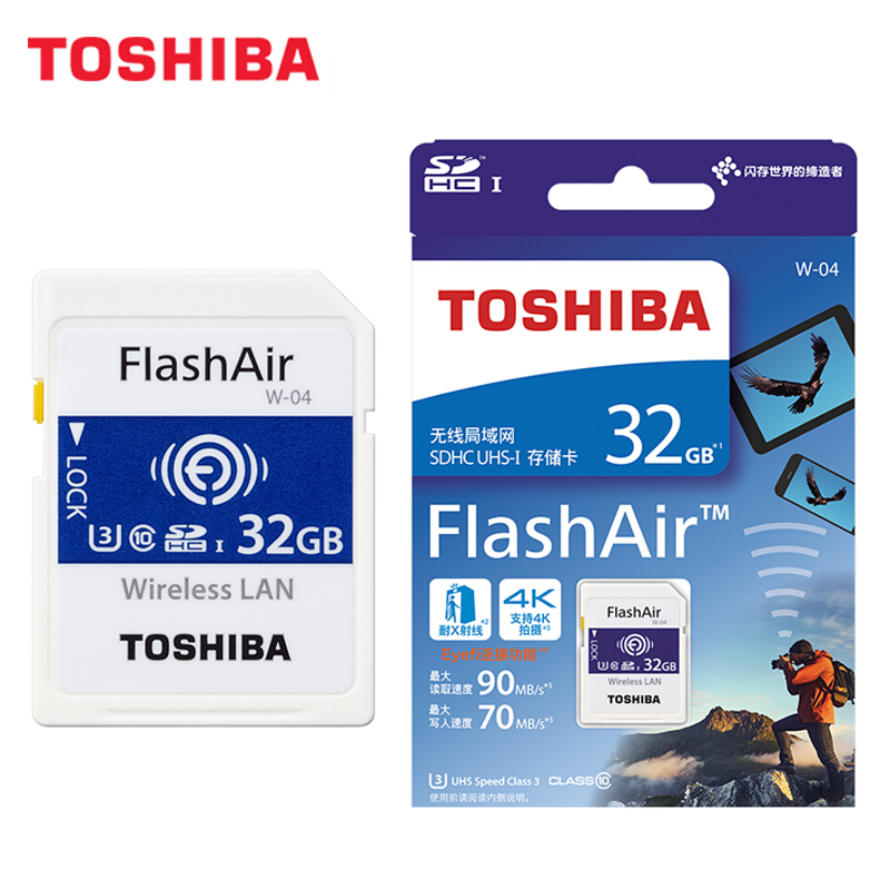 Image 5 - TOSHIBA FlashAir W 04 Wifi Memory SD Card 32GB SDHC 64GB SDXC Class 10 U3 Memory card For Digital Camera-in Memory Cards from Computer & Office