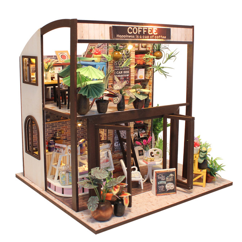 Doll House Miniature DIY Wooden Dollhouse With Furnitures Toys For Children Gift Happiness Is A Cup Of Coffee M027 E in Doll Houses from Toys Hobbies