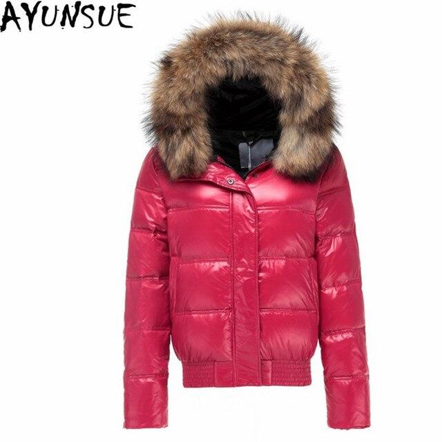 AYUNSUE Warm Coat White Duck Down Jacket Women Hooded Raccoon Fur Collar Coats Lady Slim Jackets Jaqueta Feminina Inverno WXF133
