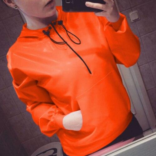 Latex 100% caoutchouc orange veste haut avec chapeau beau 0.4mm