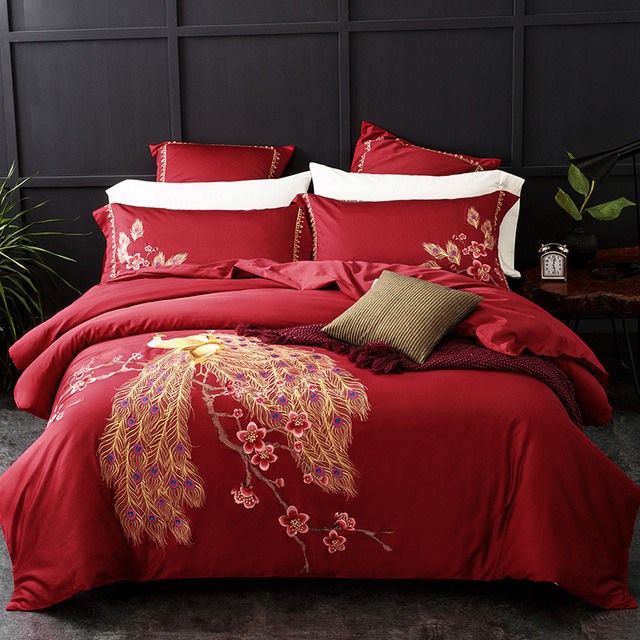 eb200c49daa 4 6PCS 100% Cotton 60S super Soft sheets Chinese Traditional red wedding bedding  sets luxury peacock embroidered duvet cover set