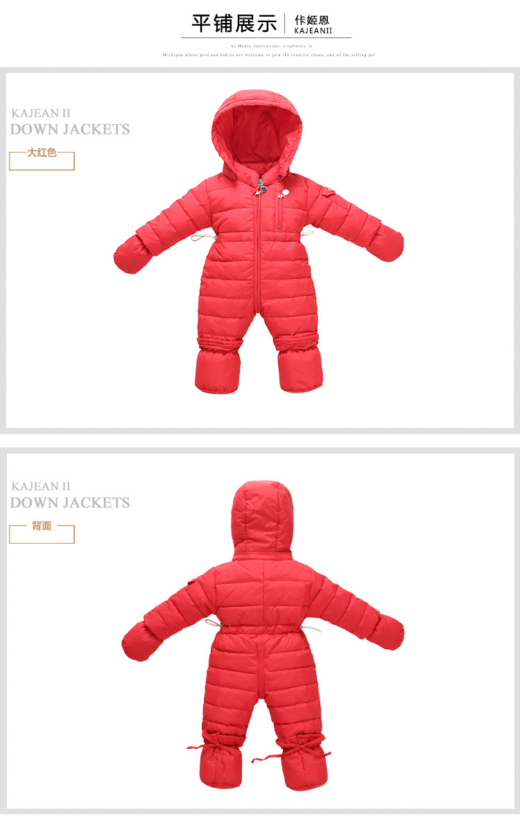 55a52571470b warm Winter Baby Girl Jumpsuits Baby Clothing Windproof Coats Snow ...