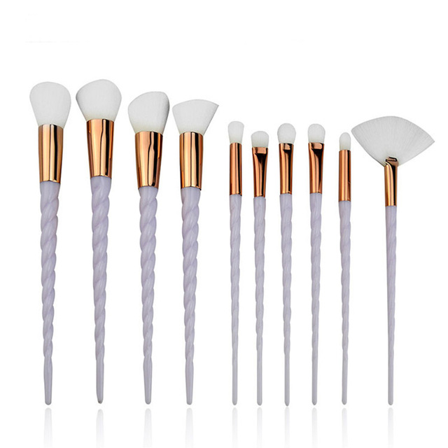 10 Piece Pink And White Unicorn Makeup Brush Sets
