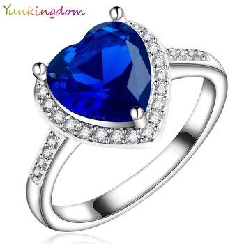 Yunkingdom love heart design fashion romantic ring dark blue cz crystal Rings for Women costume jewelry X0030