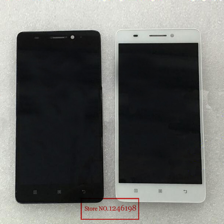 TOP Quality Black/White LCD Display Touch Screen Digitizer Assembly with Frame For Lenovo S8 A7600 A7600M A7600-M Phone Parts