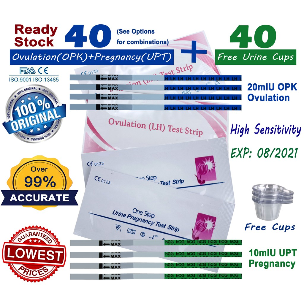 30pcs Ovulation OPK+10pcs Early Pregnancy Test Strip 10mIU UPT & Other Variation image