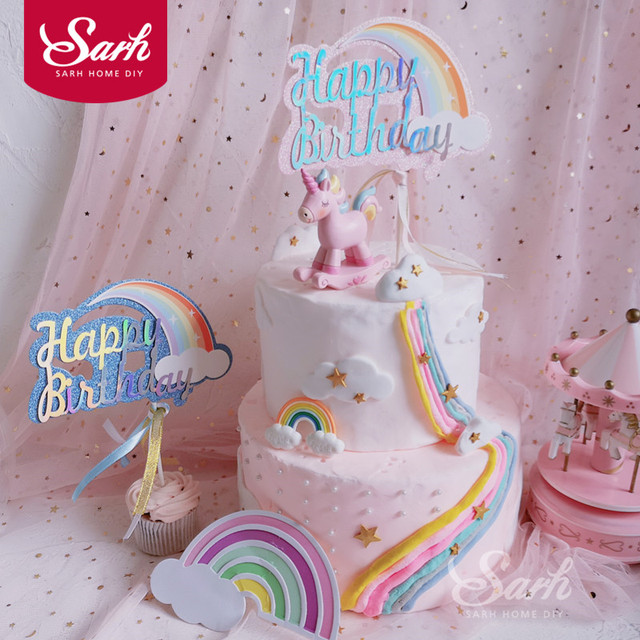 Pink Blue Biling Rainbow Cloud Unicorn Happy Birthday Cake Topper For Party Decoration Dessert