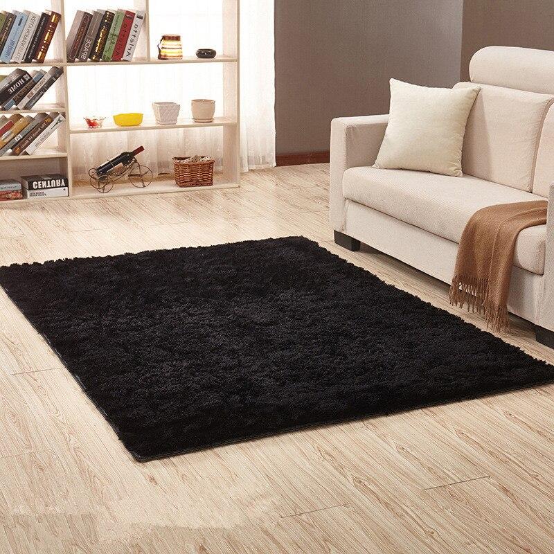 European Modern Rectangular Blanket Long Hair Non Slip Silk Floor