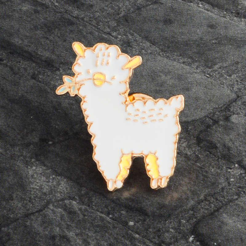 Эмалированная булавка из альпаки овечий, металлический значок в виде мультяшного животного, брошь для женщин, мужчин, детей, джинсовая сумка, рубашка, воротник, булавка, аксессуары, ювелирные изделия