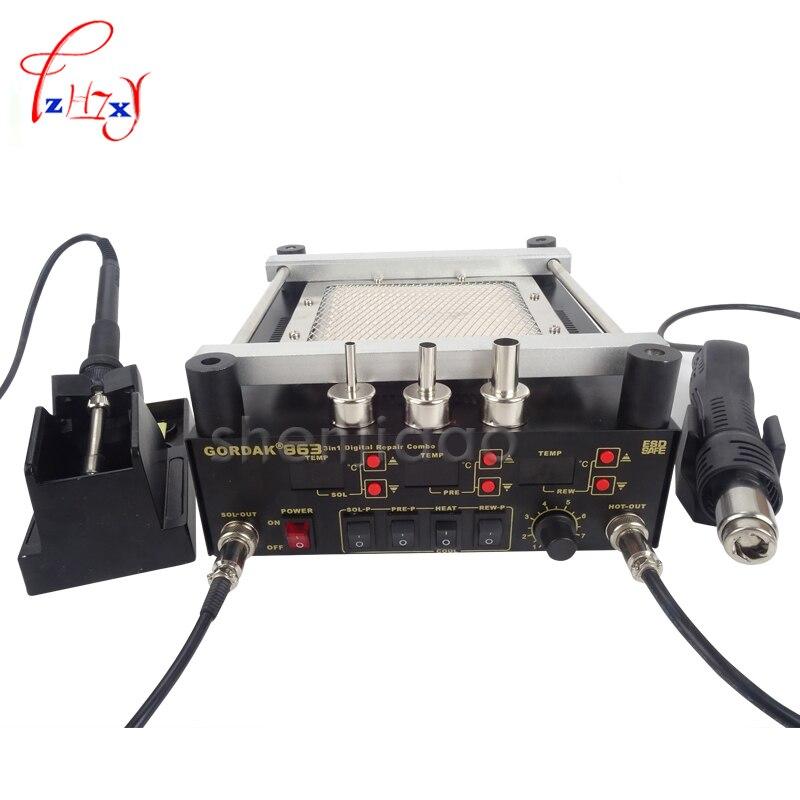 Gordak 863 Digita Hot Air Heat Gun BGA Rework Solder Station+Electric Soldering iron+IR Infrared Preheating Station цены онлайн