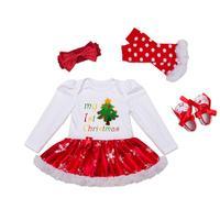 4Pcs Baby Toddler Girls XMAS Romper TUTU Dress Leg Warmer Headband Shoes Set Cotton Blend Oct Amazing