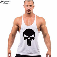 New Skull Print Stringer Mens Tank Top Brand Bodybuilding Clothing Sleeveless Shirts Fitness Men Singlets Tops Sportswear Vest