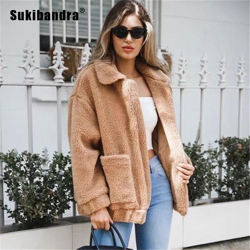 4ddb30b45c01 Chaud Longues Manches Sukibandra Vêtements Veste Fluffy Femmes 2018 black  Furry khaki De brown grey Noir D hiver Fourrure ...
