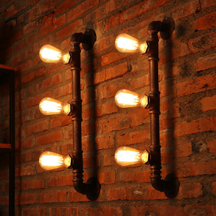 Industrial Style Loft Wall Light Wrought Iron Vintage Wall Lamp Creative Pipe Lamp Edison Wall Light
